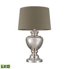 Spun Metal Led Lamp With Natural Shade