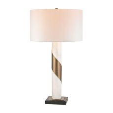 Brass Strapped Marble Lamp
