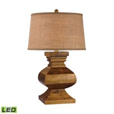 Carved Wood Led Post Lamp