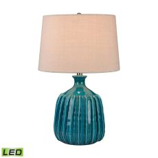 Ribbed Blues Ceramic Led Lamp