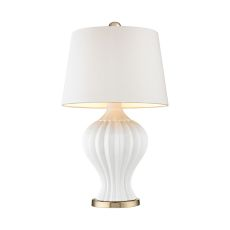 Tess 1 Light Table Lamp In White And Gold