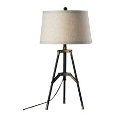 Functional Tripod Table Lamp In Restoration Black And Aged Gold