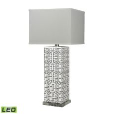 Linked Rings Ceramic Led Table Lamp In White And Blue