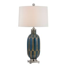 Glazed Ceramic Table Lamp In Blue And Off White