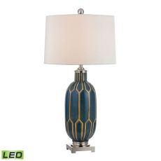 Glazed Ceramic Led Table Lamp In Blue And Off White