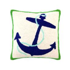 Blue Anchor With Green Border Hook Pillow