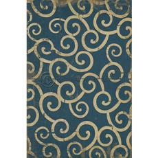 Dark Blue Swirl Pattern Vinyl Floor Cloth