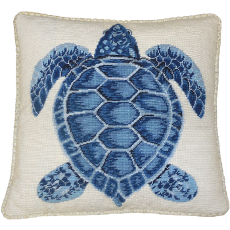 Dark Blue Turtle Needlepoint Pillow