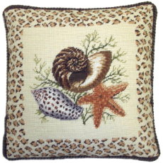 Dark Sea Shells Needlepoint Pillow