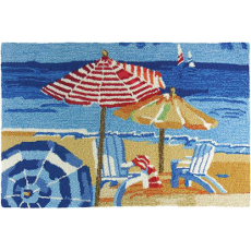 Day at the Beach Hand Hooked Accent Rug