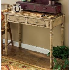 Aged Tan Desk Side Table