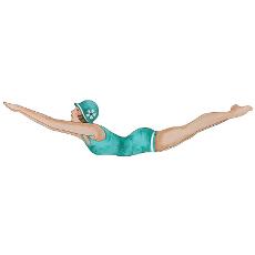 Retro Diving Girl Plaque- Aqua