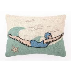 Coral Sealife Retro Dive Girl Hook Pillow