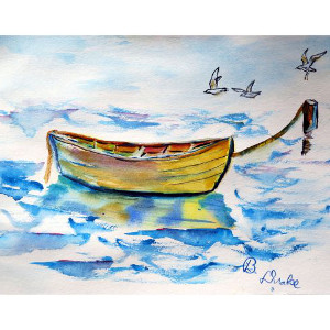 Yellow Rowboat Doormat 18X26