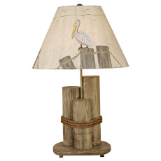 Distressed Grey Dock Pilings lamp with Grey Pelican shade table Lamp