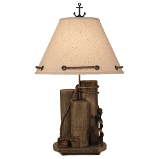 Dock Pilings With Anchor Table Lamp