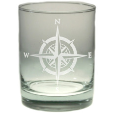 Compass Rose Double Old Fashion Glass Set of 4
