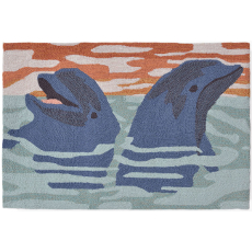 Dolphins Blue Indoor/ Outdoor Rug