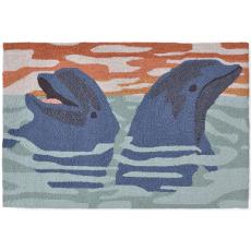 Dolphins Blue Indoor Outdoor Rug