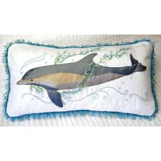 Ocean's Gem Dolphin Embroidered Pillow