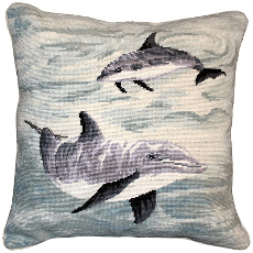 Dolphins Needlepoint Pillow
