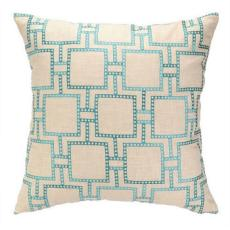 Dotted Line Turquoise Embroidered Pillow