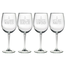 Down the Hatch Etched Stemmed Wine Glass Set