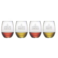 Down the Hatch Etched Stemless Wine Glass Set