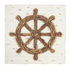 Ship's Wheel Driftwood  Wall  Decor
