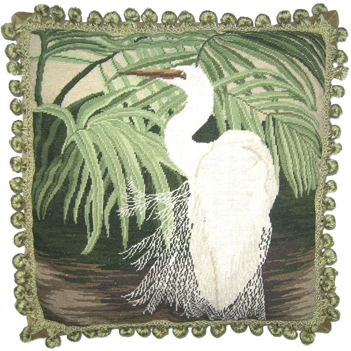 Egret Petit Point Pillow