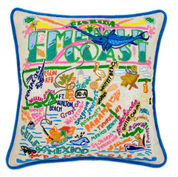 Emerald Coast Hand-Embroidered Pillow