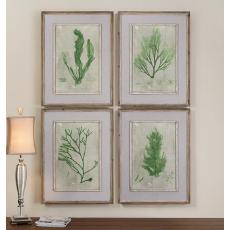 Emerald Seaweed Wall Art  S/4