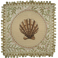 Fan Shell Needlepoint Pillow