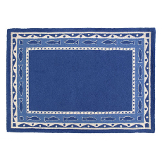 Oriental Fish Blues Hook Rug