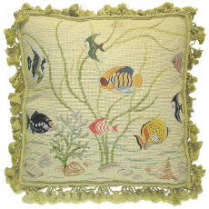 Fishes Needlepoint Pillow