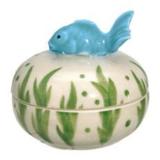 Fish on Top Handpainted Box, Aqua