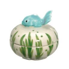 Fish on Top Handpainted Box, Light Aqua