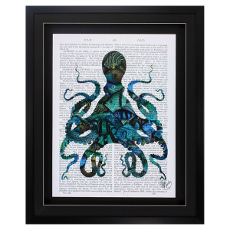 Fishy Blue Octopus Framed Art