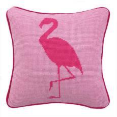 Flamingo Pink Needlepoint Pillow