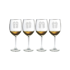 Flip Flops Etched Stemmed Wine Glass Set