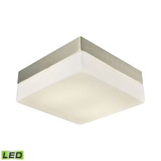 Wyngate 2 Light Square Led Flushmount In Satin Nickel And Opal Glass - Medium