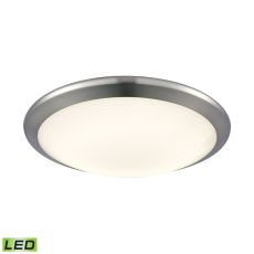 Clancy Round Led Flushmount In Chrome And Opal Glass - Small