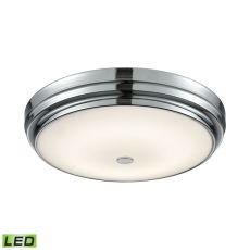 Garvey Round Led Flushmount In Chrome And Opal Glass - Large