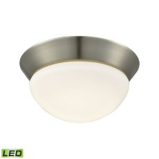 Contours 1 Light Led Flushmount In Satin Nickel And Opal Glass - Small