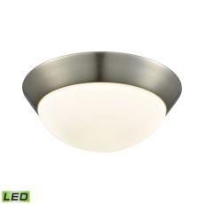Contours 1 Light Led Flushmount In Satin Nickel And Opal Glass - Medium