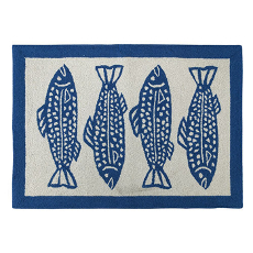 Four Fish Navy Hook Rug