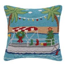 Going Places Christmas Boat Pillow