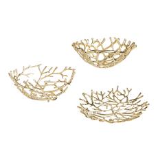 Gold Twig Bowl, Set of 3