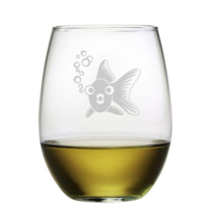 Goldie Fish Etched Stemless Wine Glass Set