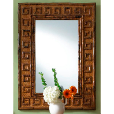 Rattan Greek Key Frame Mirror